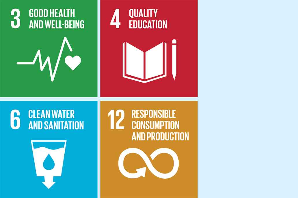 3. Good health and wellbeing 4. Quality education 6. Clean water and sanitation 12. Responsible consumption and production