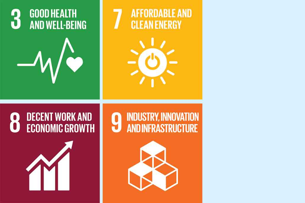 3. Good health and wellbeing 7. Afforable and clean energy 8. Decent work and economic growth 9. Industry, innovation and infostructure